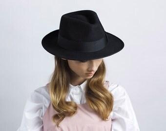 Classic Black Fedora Hat , Women Wide Brim Fedora Hat ,  Mens Hat ,  Winter Hat  , Millinery Hand Crafted Hat , Womens Fedora Hat