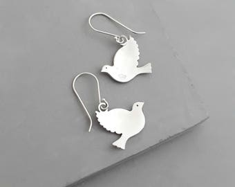Sterling Silver Dove Earrings  - Dove jewelry - Sterling Silver Earrings - High-Quality