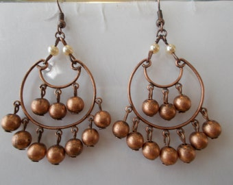 Bronze Tone Chandelier Earrings with Bronze Tone Bead and White Sea Shell Pearl Dangles