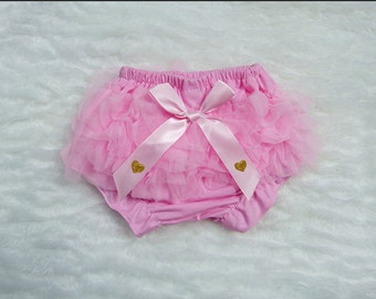 Baby Girl Pink Bloomers, Baby Diaper Cover, Newborn Baby Girl, Baby Girl, Photo Prop, Birthday Girl, Coming Home Outfit, Gold Black