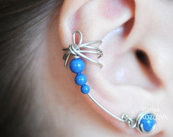 Cartilage Ear Cuff Earrings Silver and Blue Dragonfly Wings/ear jacket climber/ohrklemme ohrclip/ear manschette/conch cuff/ear sweep crawler
