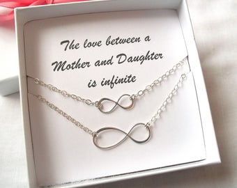 Mother Daughter Infinity Necklace Set ~ Sterling Silver, Infinite Love, Mother and Daughter, Mother's Day Gift, Mom ~ MADE TO ORDER