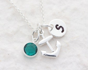 Small Anchor Necklace, Sterling Silver anchor charm. 2 Custom charms Included, Wedding party. Beach Nautical jewelry, bridesmaid gift
