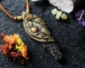 Feather & Leaves Necklace with Black Kyanite, Sunstone and Moonstone