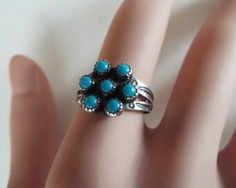 Zuni sleeping beauty turquoise petit point snake eye Fred Harvey era  sterling silver ring size 7.5