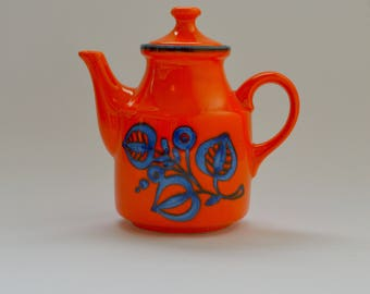Mid-Century Vibrant Orange Teapot