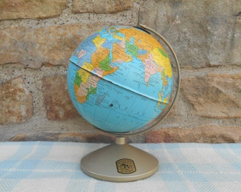 Vintage Simplified Globe Bank 6 Inch Replogle World Desk Globe Metal Tin Litho National Bank of Detroit Promotional Travel Decor Retro 1960s