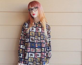 Retro Autumn Leaf Colorblock Oxford Button Up Blouse Top // Women's size Medium M