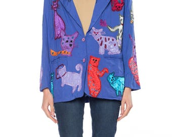 Blue Blazer With Cat Embroidery Size: 12