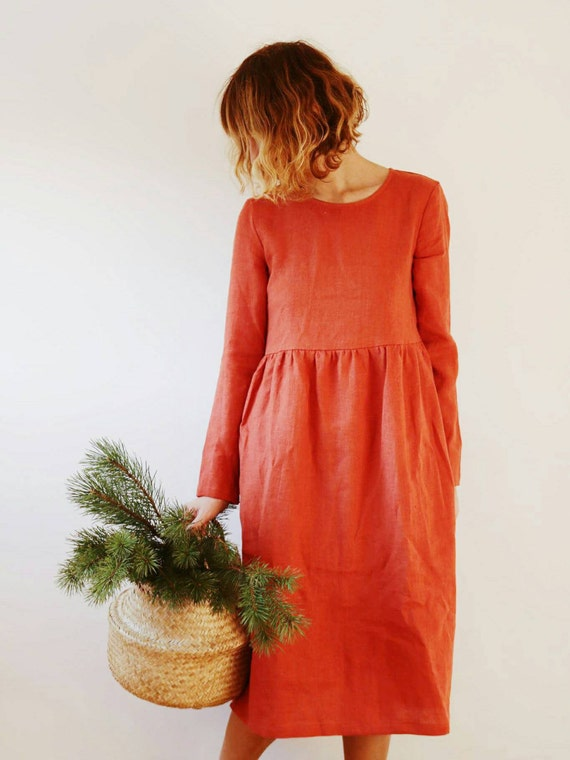 Burnt Orange Linen Dress - Long Sleeved Dress - Loose Fit Dress - High Waist Dress - Handmade by OFFON