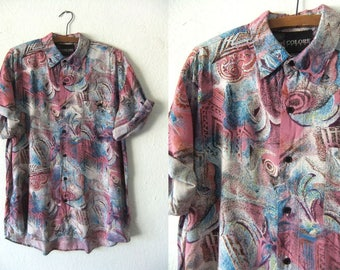 Peacock Print Button Down - Flowy 90s Club Kid Psychedelic Short Sleeve Abstract Shirt Pastel Goth - Mens Large