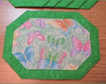 Quilted Mug Rug Candle Mat Butterfly Sparkle Green 157