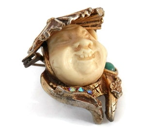 Har Laughing Buddha or Smiling Chinaman Brooch by Hobe Rare Costume Jewelry