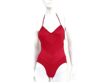 Vintage Swimsuit by Ceeb of Miami Cherry Red Chevron Maillot 1 pc Bathing Suit Vintage Swimwear NOS Dead Stock sz 8 #137
