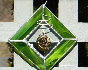 Stained Glass Sun Catcher with Nautilus