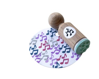 Music notes mini Stamp, made with mint rubber