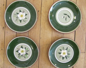 Set of 4 Stangl Star Flower Plates, Stangl, Star Flower, Plates, Bread Plates, Saucer, Trenton, NJ, Made in USA, Stangl Pottery, 1950, 1960
