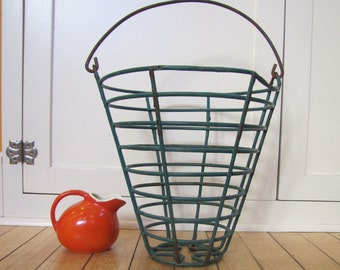 1950's Wire Egg Basket, Farmhouse, Wire, Egg Basket, Green, Chippy Paint, Cone Shaped, Large, Metal, Paint, Industrial, Urban Farmer