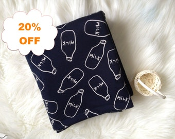 ON SALE - Milk Bottle French Terry Knit - Navy - By the Yard