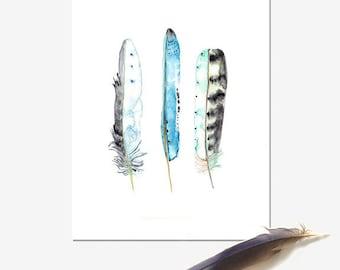 Blue Feather Print, Boho Wall Art, Australian Seller, Nature Decor, Watercolour Painting, Aqua blue artwork