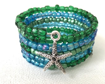 Starfish Bracelet for her, Blue Summer Bangle, Aqua Memory Wire Wrap, Teen graduation present, Ocean Jewelry
