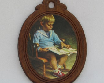 Boy Reading Wall Hanging - Vintage Home Decor