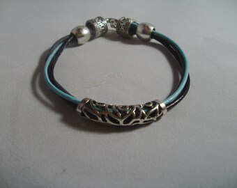 Bracelet - Leather Cord Bracelet - Black Gray Blue Bracelet - Silvertone Tube Bead - Unisex Bracelet - Small Mens Bracelet - Ladies Bracelet