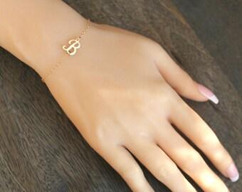 Personalized initial bracelet, Script letter bracelet, 14k gold filled, sideways Monogram,customized custom, A B C D E F H J K L M N P R S Y