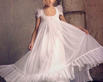first communion dressflower girl white chiffon girls dress