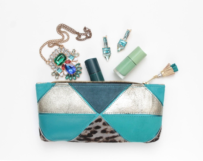Reserved for Jyoti/ Natural leather pouch-metallic silver bag-animal print-zipper pouch-geometric clutch-green teal gold/MINI PRISM 20