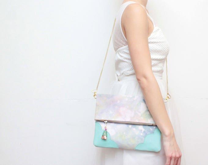 Dyed cotton clutch bag. Fold over clutch. Leather handbag. Statement purse. Hand colored. Mint natural leather. Pastel handbag. /JOY 55