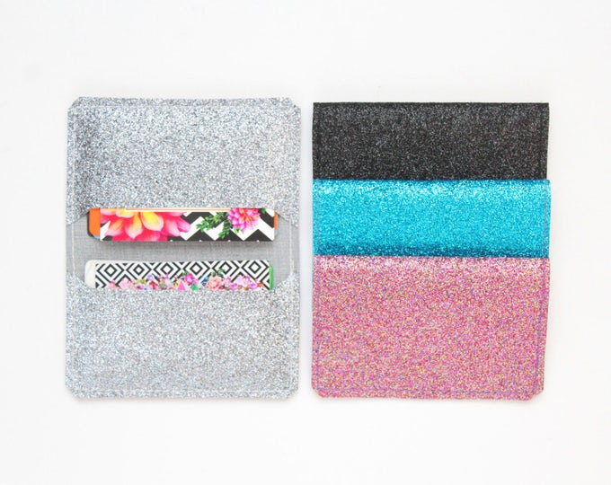 Multicolor glitter sequin double credit card / glitter covered canvas/vegan card case/ minimalist wallet/cash holder /wallet - Ready to Ship