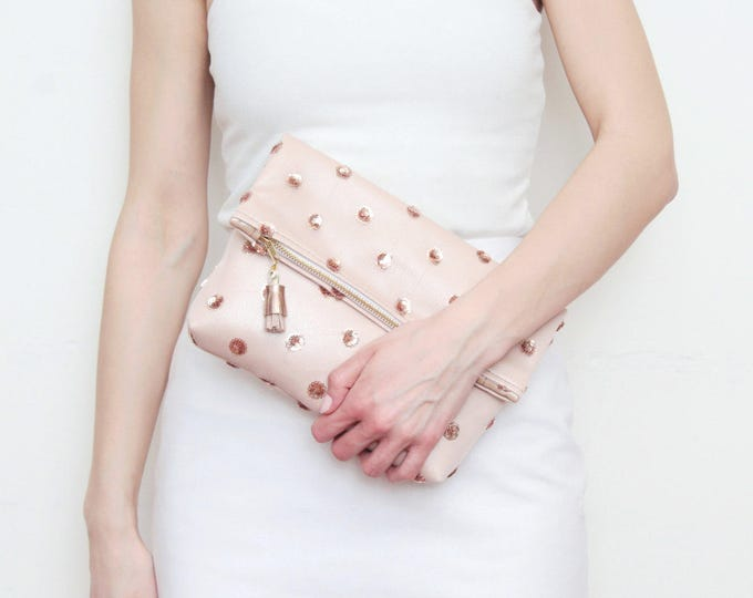 BRIDAL 6 / Rose gold clutch purse-leather purse-romantic bag-wedding bag-bridal purse-sequin fabric-polka dots-nude handbag-Ready to Ship