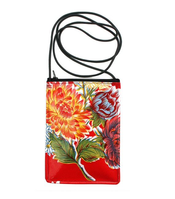 Red, floral, oil cloth, small cross body, vegan leather, zipper top, passport bag