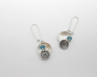 Long Silver Earrings with Blue Glass