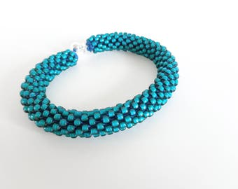 Teal Bracelet // Cuff Bracelet // Green Bracelet // Silver Bracelet// Crochet Rope Bracelet // Beaded Rope bracelet // Gift fo her //