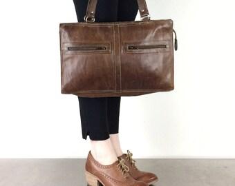 Leather Attaché Case Brown Vintage Office Bag