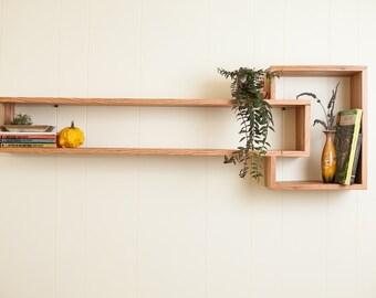 floating cube shelf, reclaimed wood.