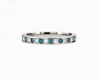 Teal and white diamond half eternity band, white gold ring, teal engagement, blue diamond, thin wedding ring, unique, rose gold, yellow gold
