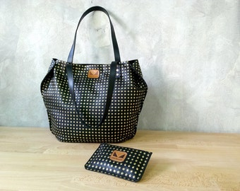 Set of black leather tote and pouch / Leather tote / Leather pouch / Black shoulder bag / Black leather wallet