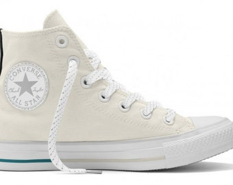 Weather Resistant Converse High Top Kicks Reflective Chuck Taylor II Bone Off White Ivory Shield w/ Swarovski Crystal All Star Sneaker Shoe