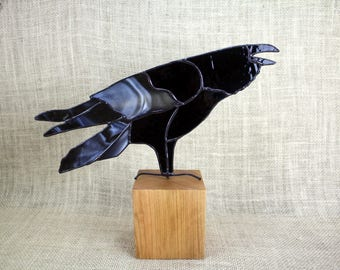 Stained Glass Raven on Cherry Base, Stained Glass Bird, Raven Art, Gothic, Crow, Raven Art, Crow Art, Glass Art