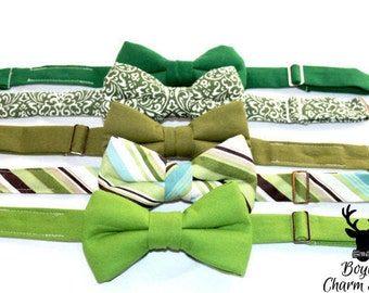 Boys Bow Tie in Greenery, Toddler Bow Ties, Easter bow tie, Wedding Attire, Ring Bearer Outfit, toddler bow tie, Pantone, Green Stipe Bo
