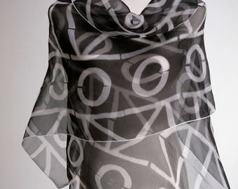 Black White Evening Silk Wrap Shibori Scarf
