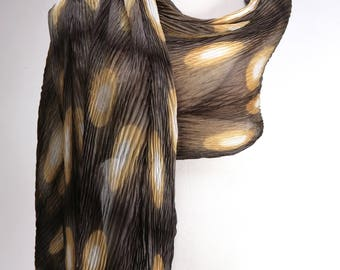 Pleated Shibori Scarf/Silk Wrap in Gray, Gold