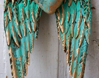 Aqua blue metal angel wings handmade heart wall hanging distressed embellished rusty shabby cottage chic wing set decor anita spero design
