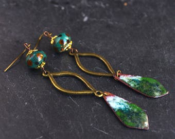 green emerald earrings,copper enamel charm jewelry,long urban dangle earrings,artisan jewelry