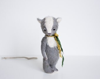NEW Stuffed Animal Handmade Mohair Fox Yellow Green Ribbon Big Eyes Toy Soft Sculpture Gift For Her 8 Inches FREE Shipping
