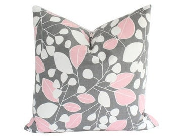 Decorative Pink and Grey Pillow Cover with Leaves and Stripes