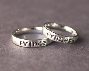 Prince and Princess Ring set, His and Her Rings, Boyfriend and Girlfriend Anniversary Gift, Promise Rings, Couples